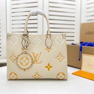 🦄✨BEAUTIFUL✨🦄 LV Onthego MM M45717 Cream Saffron Tote Handbag
